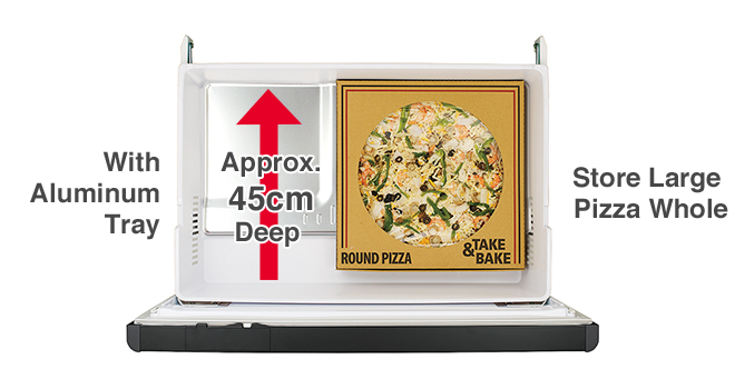 With Aluminum Tray, Approx. 45cm Deep, Store Large Pizza Whole
